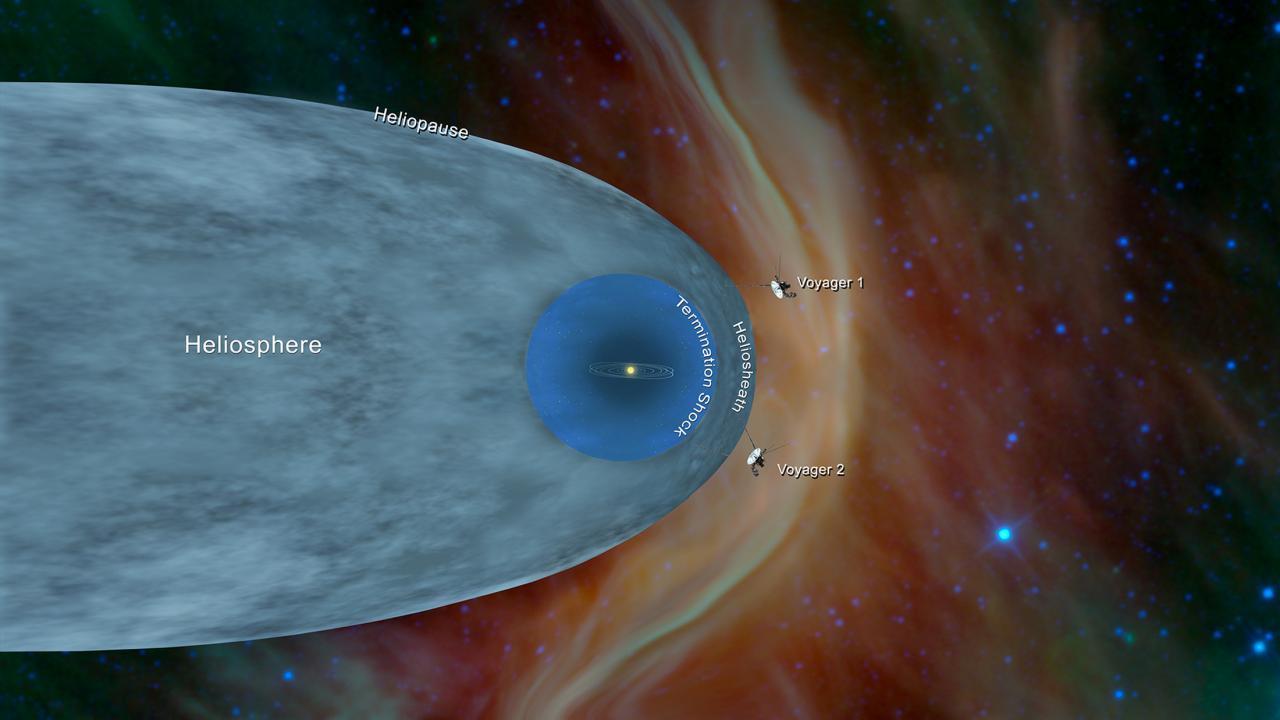 """صورة مسبار""""فوياجر2″ يسبح بين النجوم  في الفضاء"""