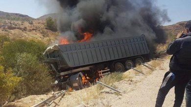 """صورة احتراق شاحنة في مرتفع """"جوك"""" وسط موريتانيا"""